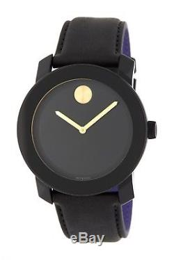 New Mens Movado (3600480) Bold Black Leather Strap Gold Accent Watch