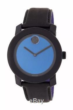 New Mens Movado (3600481) Bold Black Leather Strap Blue Dial Watch