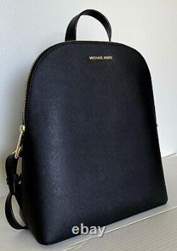 New Michael Kors Cindy Large backpack Leather Black with Gold
