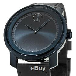 New Movado Bold Blue Dial Black Leather Strap Men's Watch 3600408