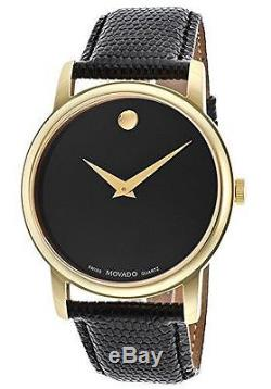New Movado Museum Classic Black Dial Gold Tone Leather Strap Men's Watch 2100005