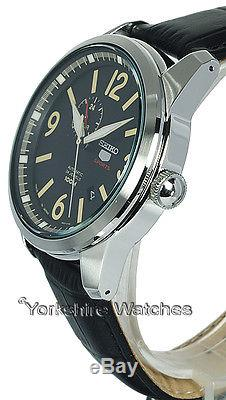 New SEIKO 5 SPORTS AUTO BLACK FACE WITH BLACK LEATHER BUCKLE STRAP SSA297J1