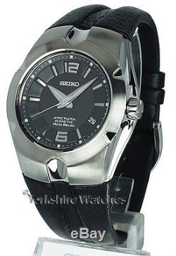 New SEIKO ARCTURA KINETIC AUTO RELAY BLACK FACE LEATHER BUCKLE STRAP SNG083P1