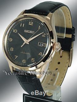 New SEIKO AUTOMATIC ROSE GOLD TONE BLACK FACE LEATHER BUCKLE STRAP SRP706J1