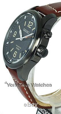 New SEIKO KINETIC CHARCOAL BLACK DIAL & CASE With LEATHER BUCKLE STRAP SKA691P1