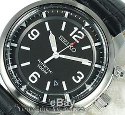 New SEIKO KINETIC CHARCOAL BLACK DIAL With LEATHER BUCKLE STRAP SKA689P1