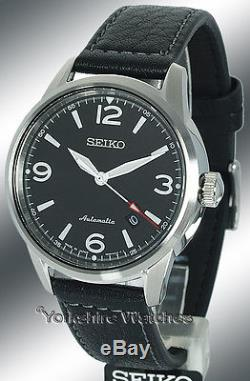 New SEIKO PRESAGE AUTOMATIC BLACK FACE WITH BLACK LEATHER BUCKLE STRAP SRPB07J1
