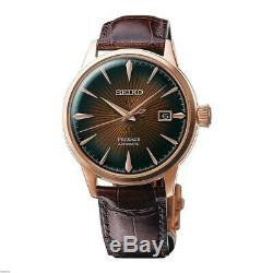 New Seiko Presage Automatic Sunray Dial Leather Strap Mens Watch SRPB46J9