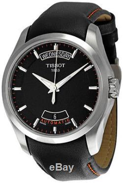 New Tissot Couturier Automatic Black Leather Strap Men's Watch T0354071605101