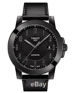 New Tissot Gentleman Automatic Mens Black Leather Strap Watch T0984073605200
