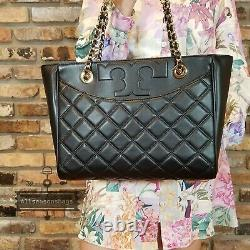 New Tory Burch $498 Black Quilted Leather SAVANNAH Small Flat Tote Purse Bag Blk
