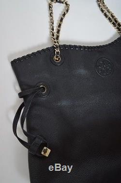 New Tory Burch Black Marion Slouchy Tote Leather Gold Strap Purse Bag Shopper