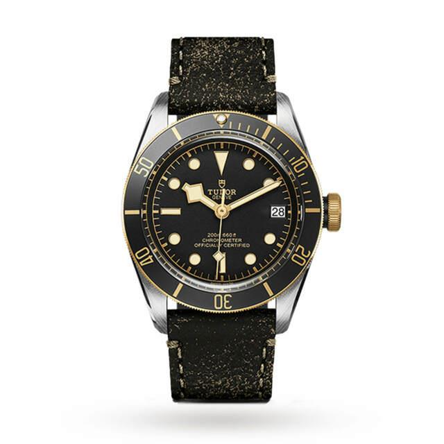 New Tudor Heritage Black Bay Gold Two-tone Leather Strap Watch M79733n-0007