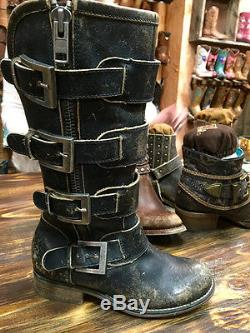 Nwt Corral Urban Women's Distressed Black Straps, Buckles & Zipper Boots P5079