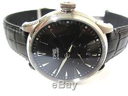 Oris Artelier Mens Small Second Automatic Black Dial Leather Strap Watch 7582