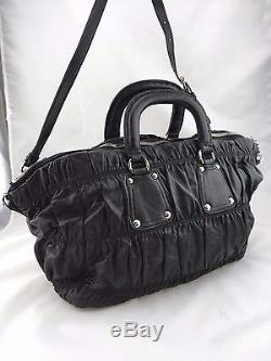 PRADA MILANO BLACK NAPPA LEATHER GAUFRE RUCHED BAG With CROSS BODY STRAP