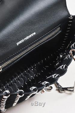 Paco Rabanne Black Leather Circle Link Silver Chain Strap Small Flap Bag