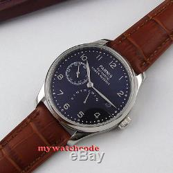 Parnis black dial power reserve brown leather strap automatic mens watch 207B