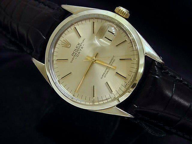Rolex Date 1550 Mens 14k Gold Shell Watch Black Leather Strap Champagne Dial