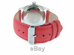 Rolex Datejust Mens Stainless Steel Watch with Red Diamond Dial & Strap Band 1603
