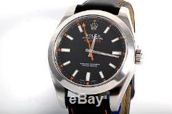 Rolex Mens 116400 Milgauss Black Dial Oyster Band Black Leather Strap