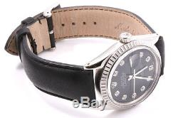 Rolex Mens Stainless Steel Datejust Black Diamond Dial Black Leather Strap