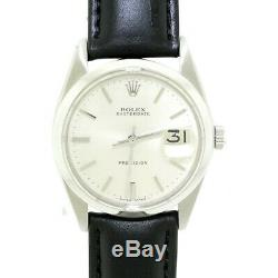 Rolex Oysterdate Precision Steel Swiss Manual 34mm 6694 Watch with Black Strap