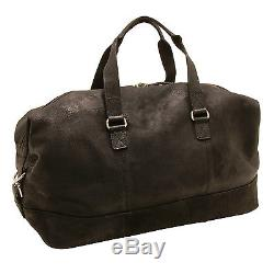 Rowallan Black Cowhide Leather Travel Bag/Holdall with Shoulder Strap