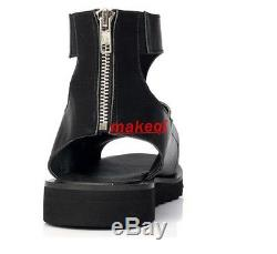 Runway Mens Gladiator Roman strap zipper Real Leather Ankle Boots Sandals Shoes