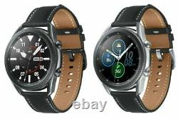 Samsung Galaxy Watch3 45mm Stainless Steel Case Leather Strap Silver Black READ