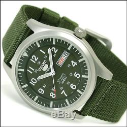 Seiko 40mm 5 Sports Automatic Watch with Green Canvas Strap, Day, Date #SNZG09K1