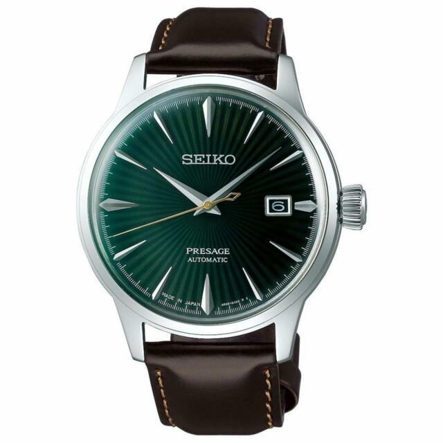 Seiko Men's Presage Cocktail Time Green Dial Leather Strap Watch Srpd37