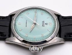 Serviced 1961 Rolex Oyster 6082 Mens Watch. Baby Blue Dial. Crocodile Strap