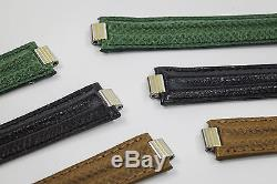 Set of 3 Genuine Cartier Black, Green and Brown Calf Leather Strap Bands New
