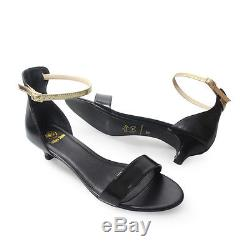 Size 12 (UK Size 10) Black Leather Womens shoes 3 sets of ankle straps Low heels