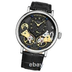 Stuhrling 3981 1 Ares Automatic Skeleton Black Leather Strap Mens Watch