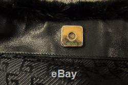 Stunning Black GUCCI Mink Fur & Leather Handbag with Gold Chain Link Strap EXC +++