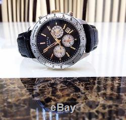 Stunning Rotary Mens Chronograph Watch Black & Gold tone Leather strap NEW