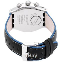 Swatch Irony Blue Details Black Dial Leather Strap Men's Watch YVS442