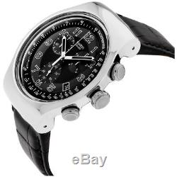 Swatch Irony Your Turn Black Black Dial Leather Strap Men's Watch YOS440