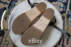 Swedish Hasbeens Size 36 Woven Toffel Clog Sandal Black Leather Strap Wood Base