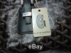 TIMELESS Goyard Black Leather Luggage Tote with Dust Bag & Strap