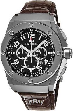 TW Steel CE4013 CEO Black-Dial Chronograp Leather-Strap Watch