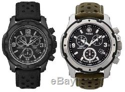 Timex Expedition Chronograph Gents Black Dial Leather Strap Indiglo Watch