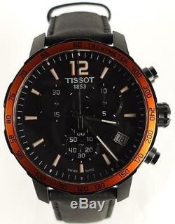 Tissot T0954173605701 Black Case Quickster Men's Watch with leather Strap NEW