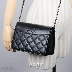 Tory Burch Savannah Black Quilted Leather Combo Crossbody Purse Bag 73125 $428