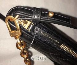 Tory Burch fleming chain crossbody leather black removable straps New $298