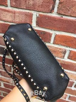 VALENTINO Rockstud Studded Black Leather Trapeze with Strap Satchel Tote Bag RARE