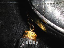 VINTAGE CHANEL Black Quilted Leather Round Tassel Bag-Gold &Leather Chain Strap