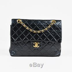 VINTAGE Chanel Black & Gold Tone Leather Chain Strap Quilted Double Flap Bag